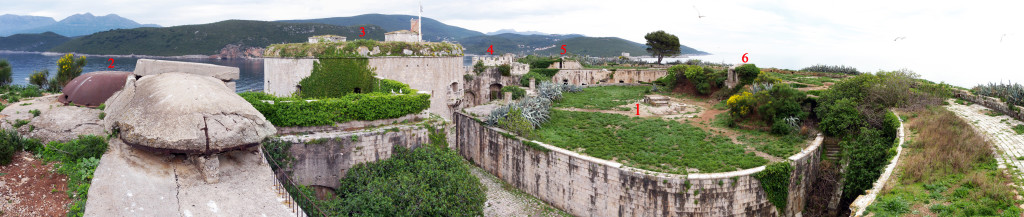 Coastal fort / Seefort Mamula, Panorama.